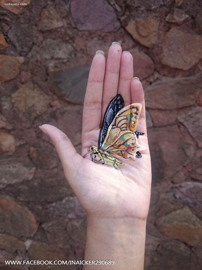 Iantha Naicker 掌心的立体绘画