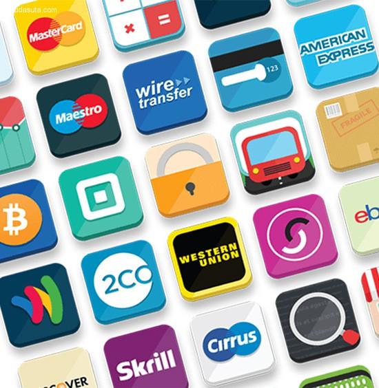 23套信用卡和付款按钮PSD免费下载