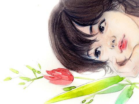 연호월 安静写实的肖像插画