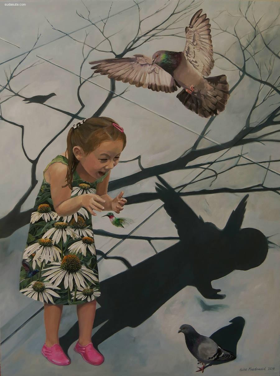Elise Macdonald 少女与鸟笼 超现实主义绘画艺术欣赏