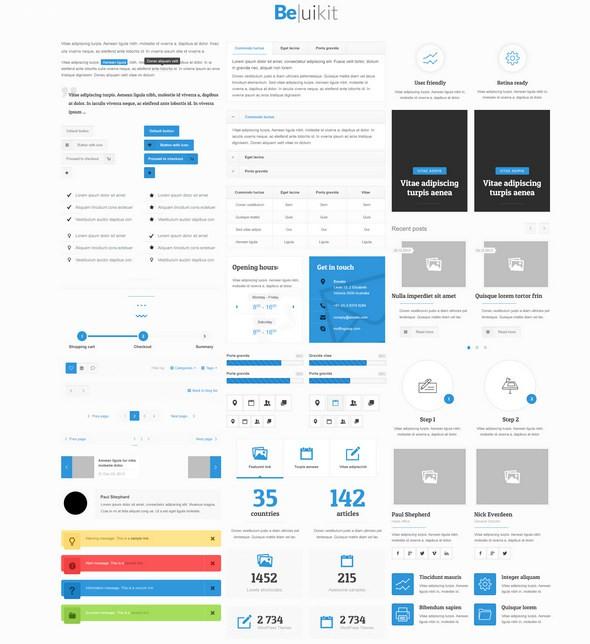 34个扁平化风格的 PSD UI免费套件