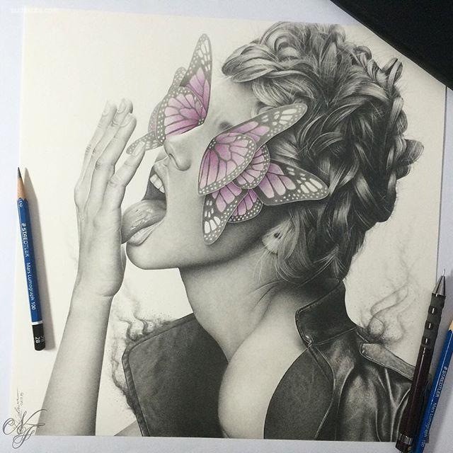 nicolaus ferry 蝴蝶与少女 手绘艺术欣赏