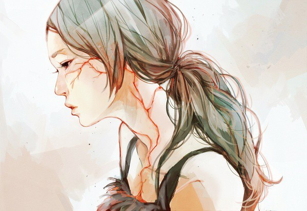 たえ 安静的女生 绘画艺术欣赏