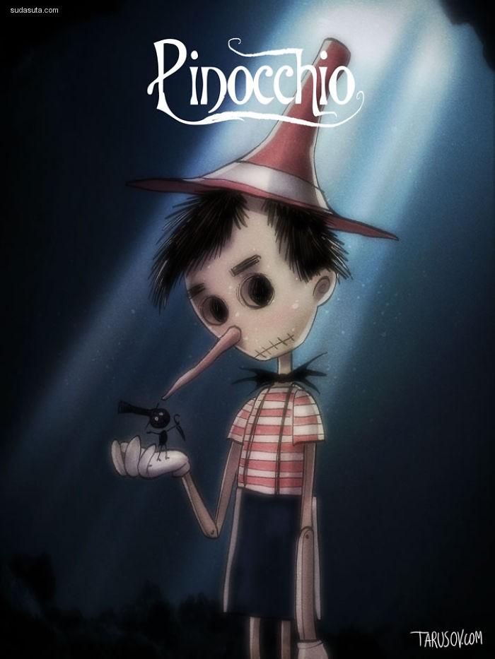 Tim Burton 的迪士尼恐怖同人插画