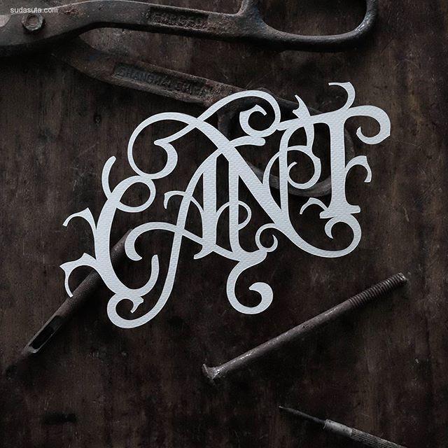 John Ed De Vera 剪纸与花体字