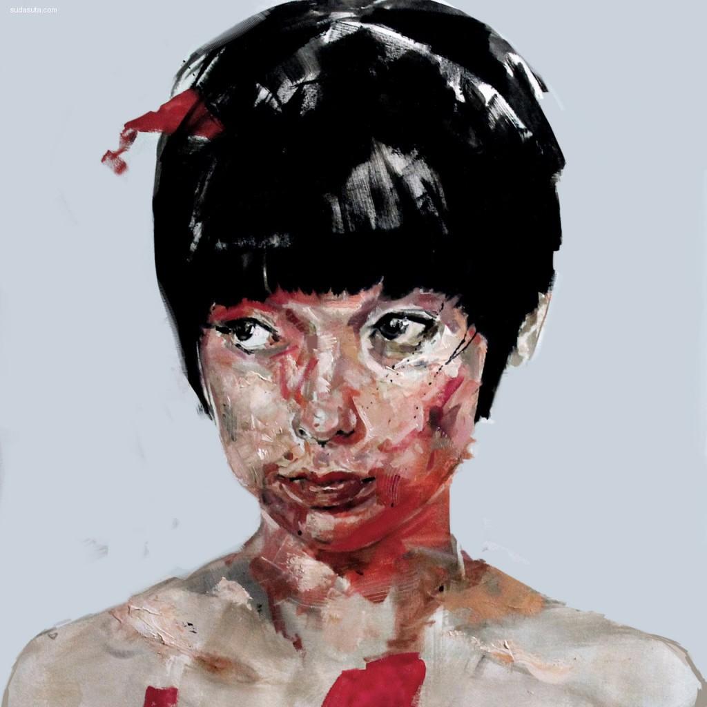 Benjamin Garcia 混沌抽象的肖像插画
