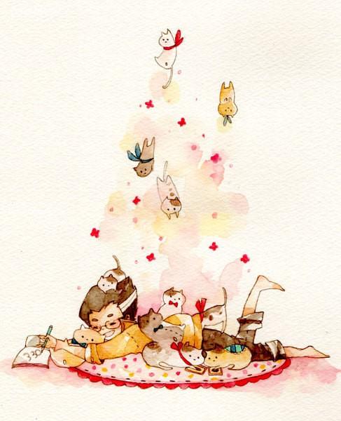 めいこ蛋糕与少女 清新可爱的水彩插画