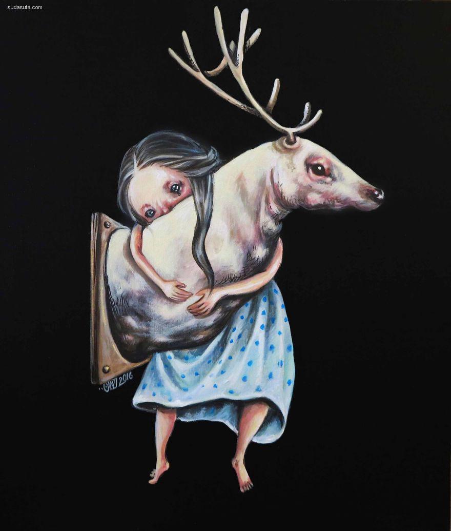 Afarin Sajedi 超现实的女性肖像插画欣赏
