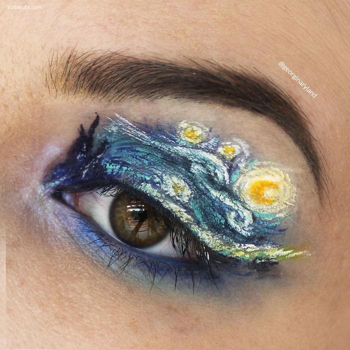 Georgina Ryland 在眼睛和嘴唇上作画