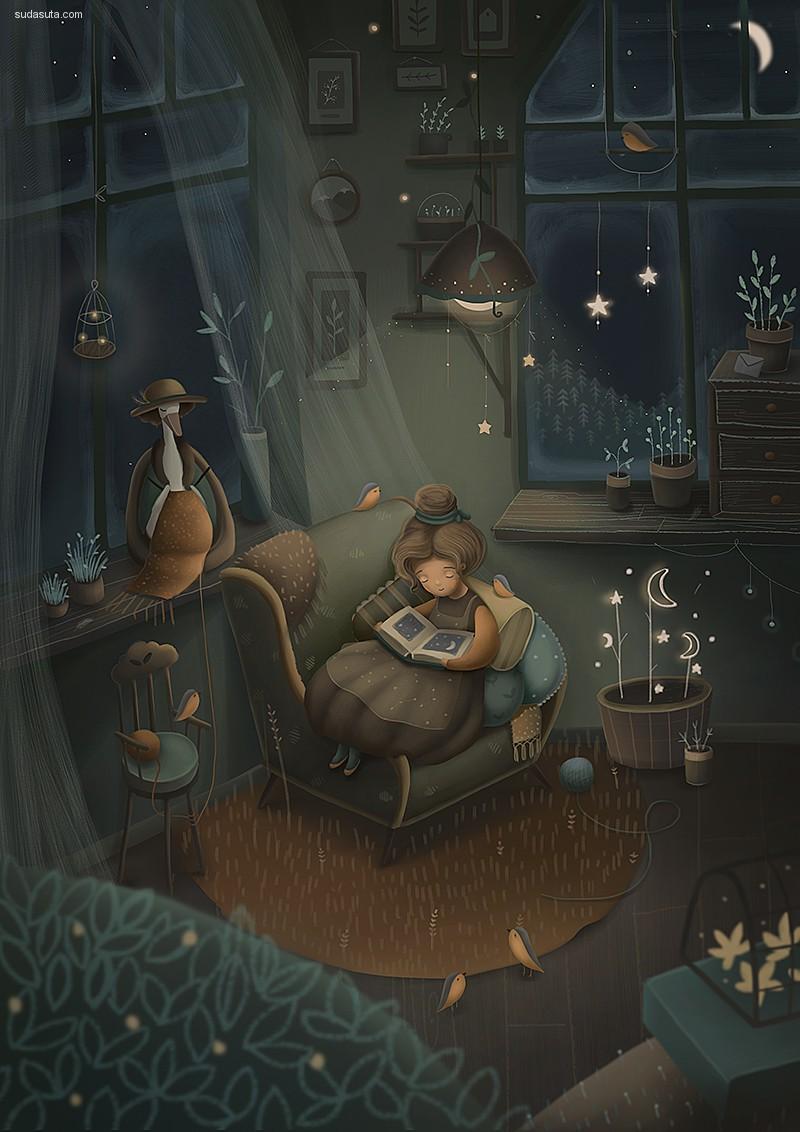 Katya Maleev 儿童插画《Night》