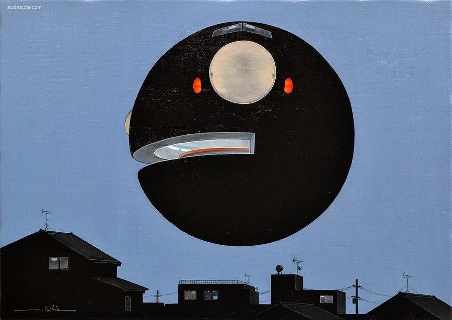 Masakatsu Sashie 关于球的绘画艺术