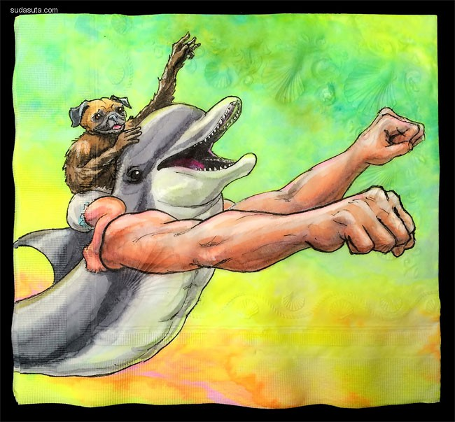 Nina Levy 餐巾纸上的艺术插画