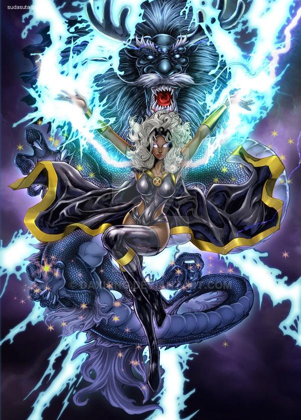 Daxiong Guo 超级女英雄和龙
