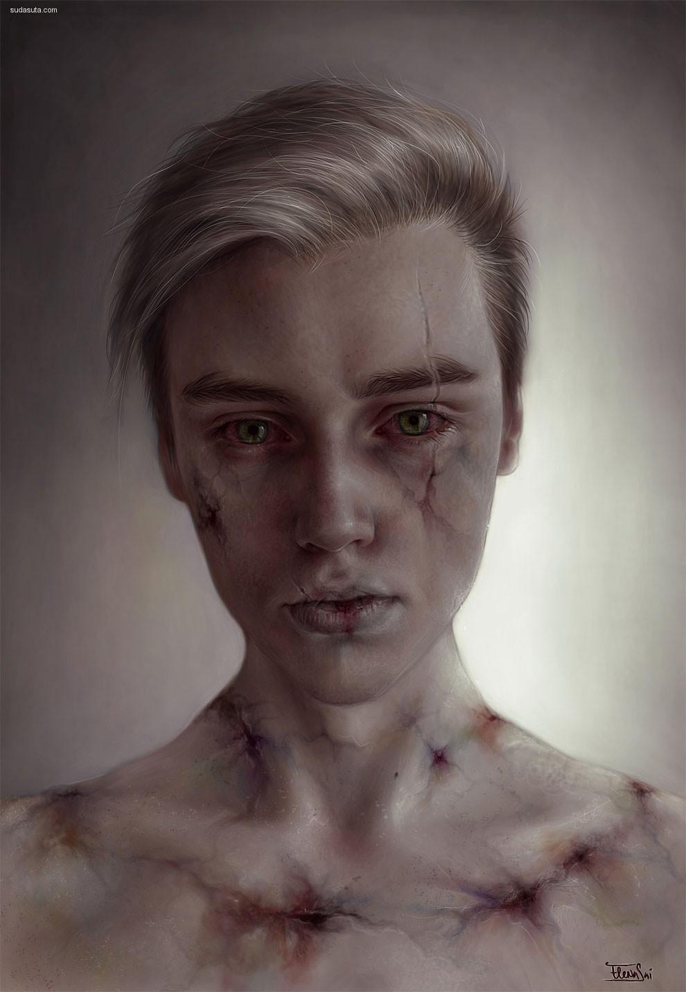 Elena Sai 被伤害的面孔