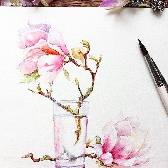 Elizaveta Gorchak 水彩的花朵插画欣赏