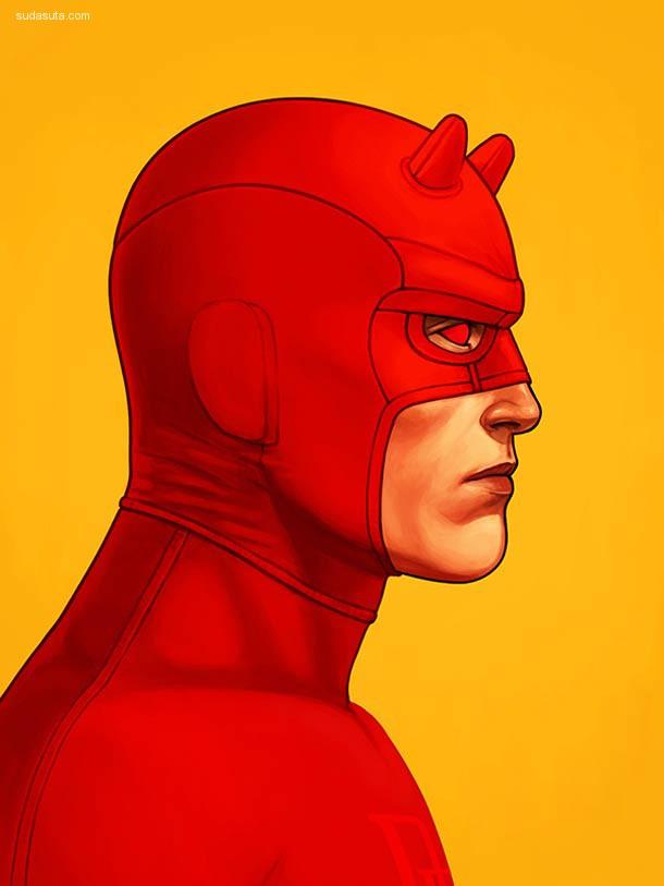 Mike Mitchell 的超级英雄 肖像插画欣赏