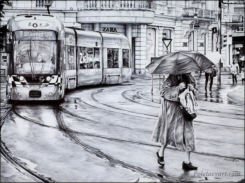 Andrey Poletaev 神奇细腻的圆珠笔画