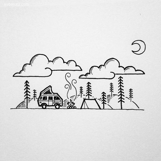 David Powell 简约可爱的线条插画