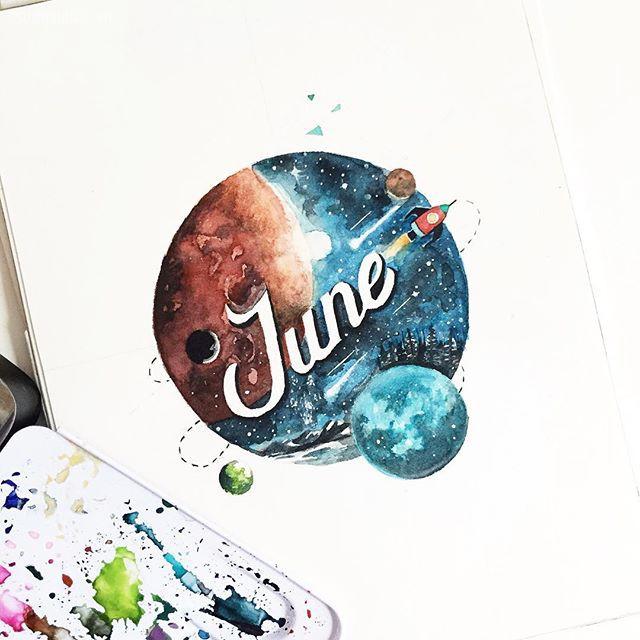 June Digan 带着花体字的手绘涂鸦本子