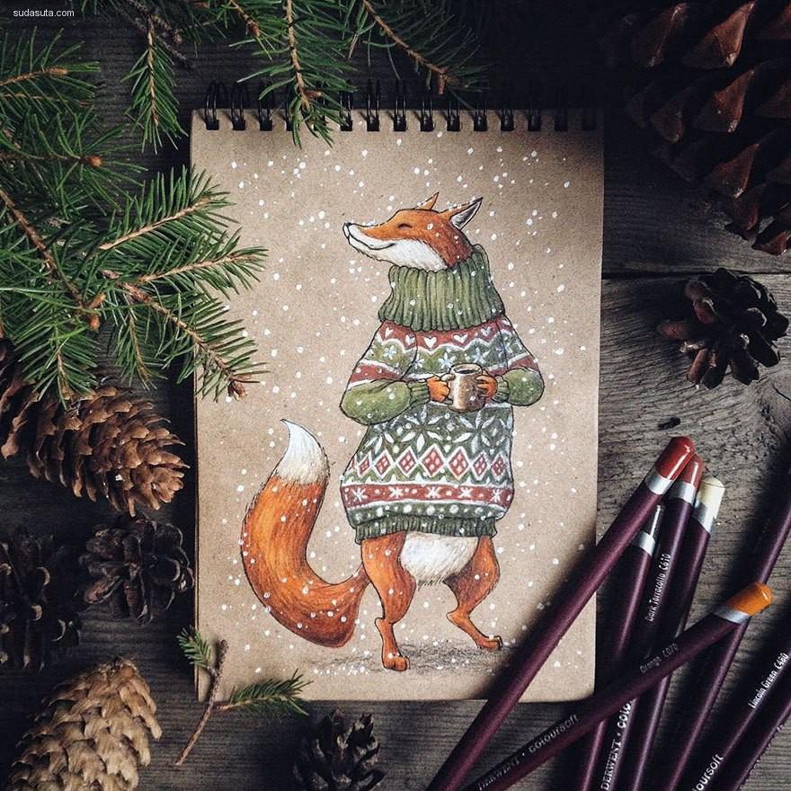 Lia Selina 可爱而温暖的手绘小卡片