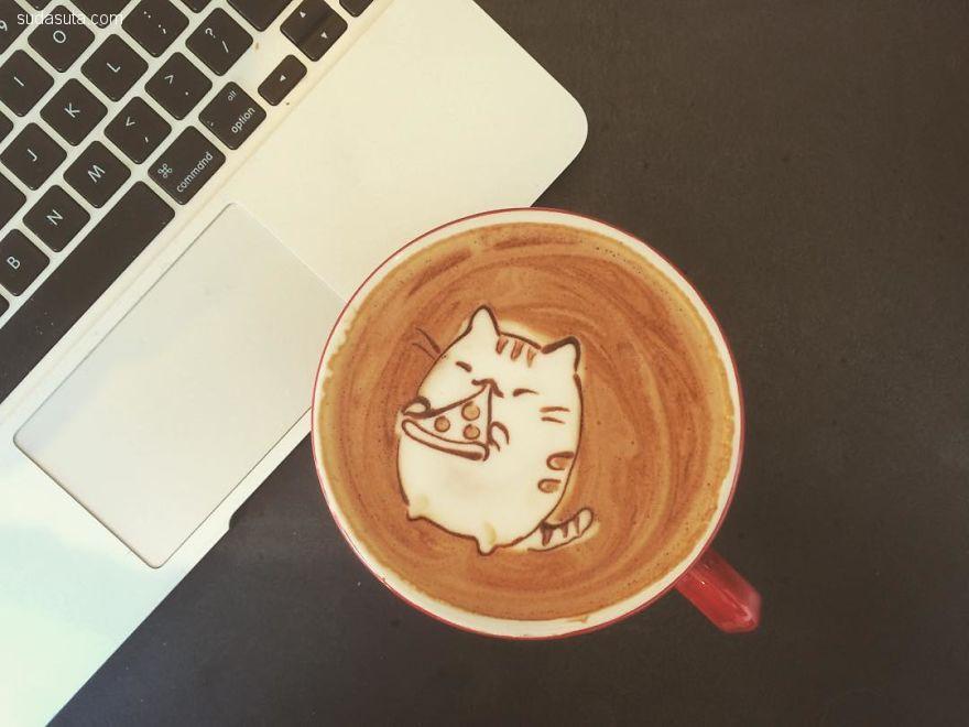 Melaquino 有趣而幽默的咖啡画