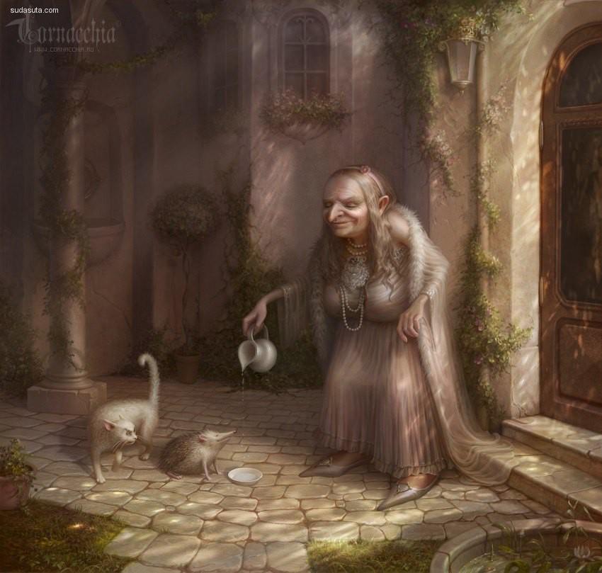 Olga Cornacchia 黑色童话 幻想插画欣赏