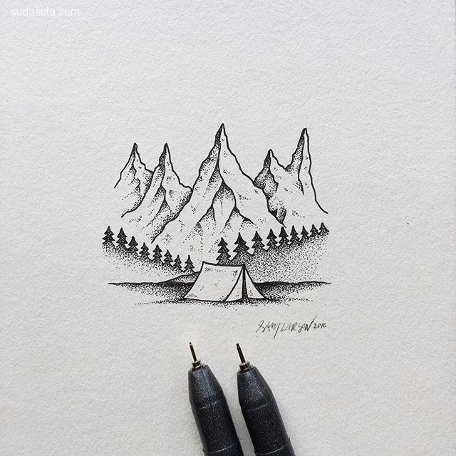 Sam Larson 旅行中的涂鸦本子