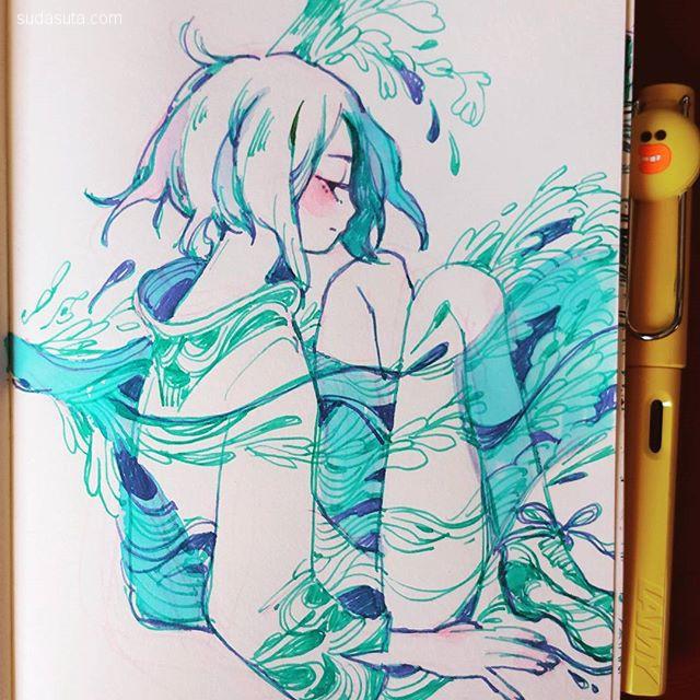 maruti_bitamin 清新安静的手绘插画