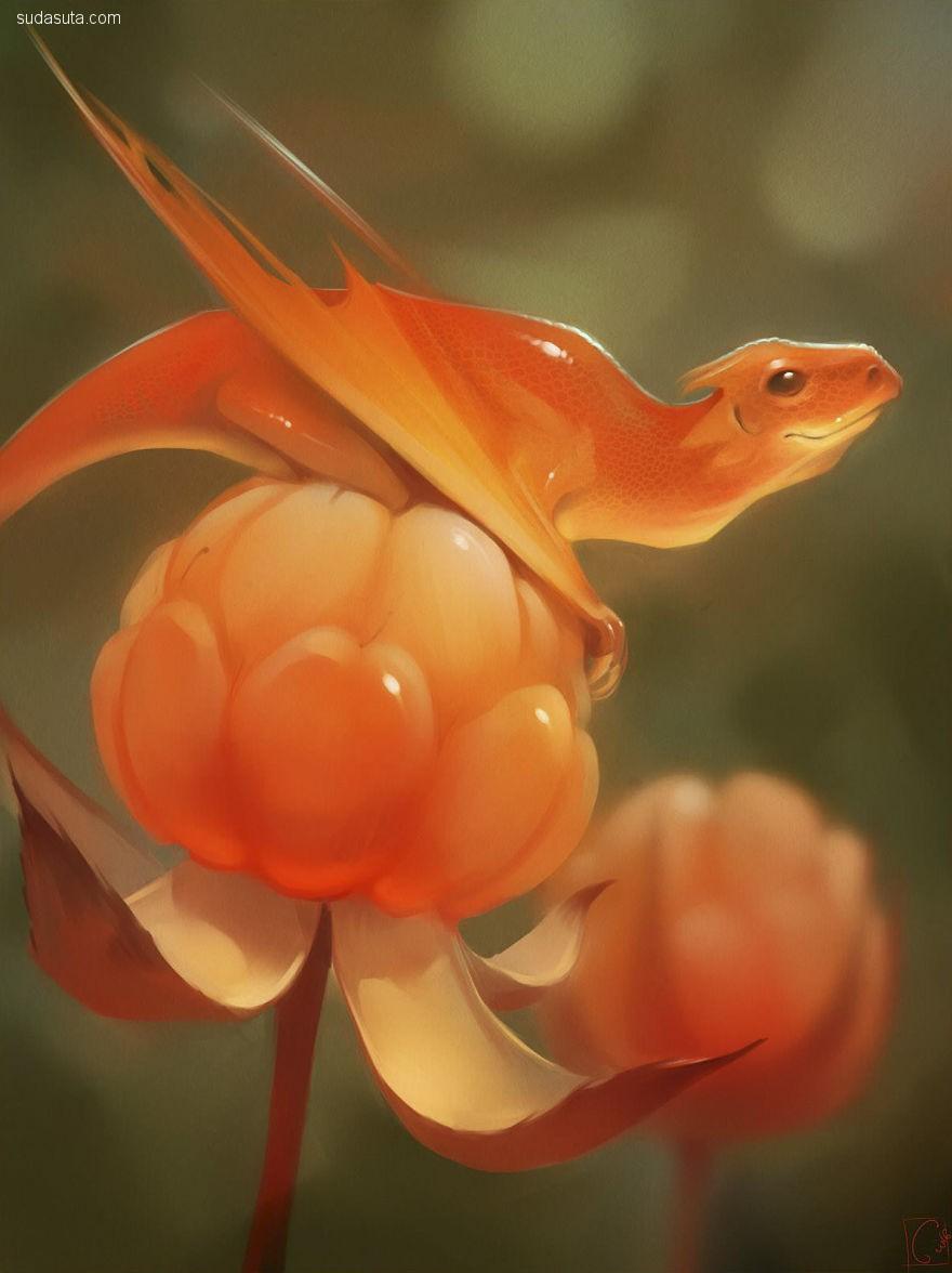Alexandra Khitrova 龙和水果 概念插画欣赏