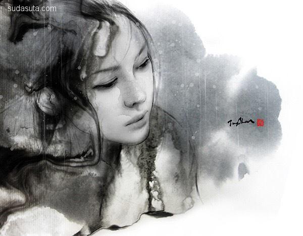 jung shan 水墨写意漫画