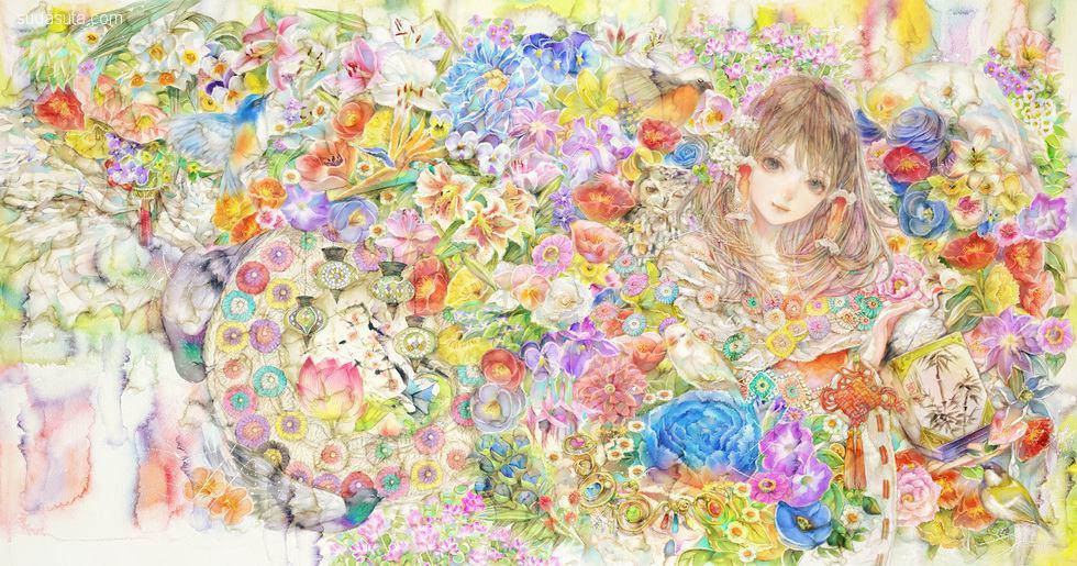 韩国插画师 laphet 少女的蕾丝