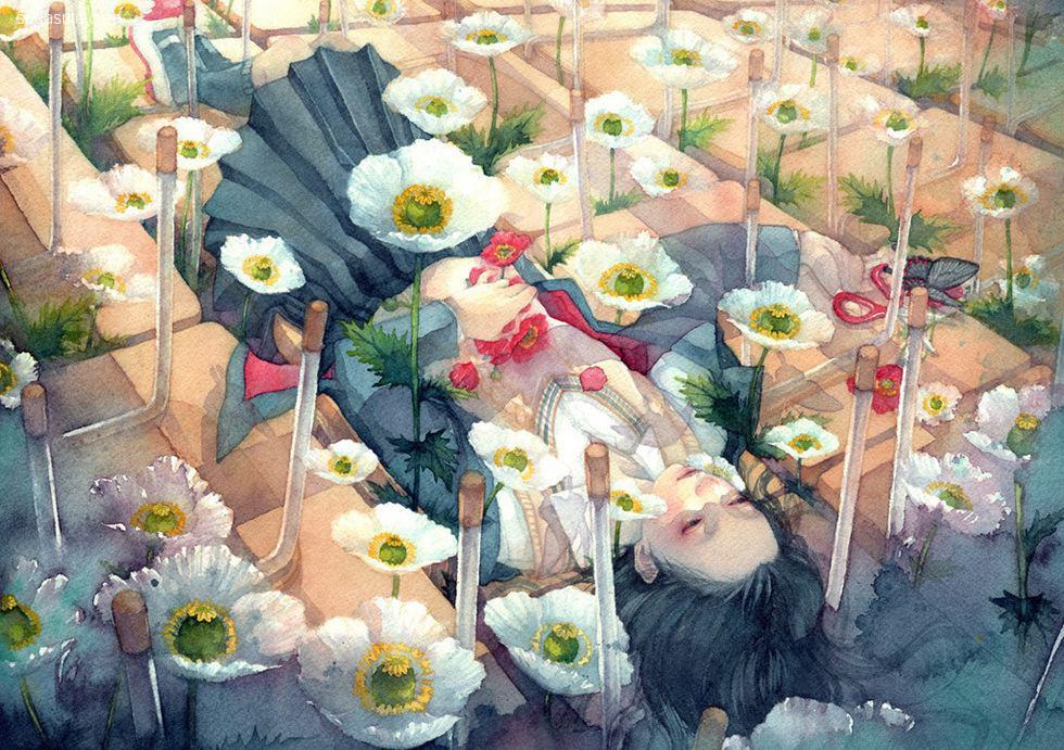 Japan朱華 不可思议的少女水彩漫画