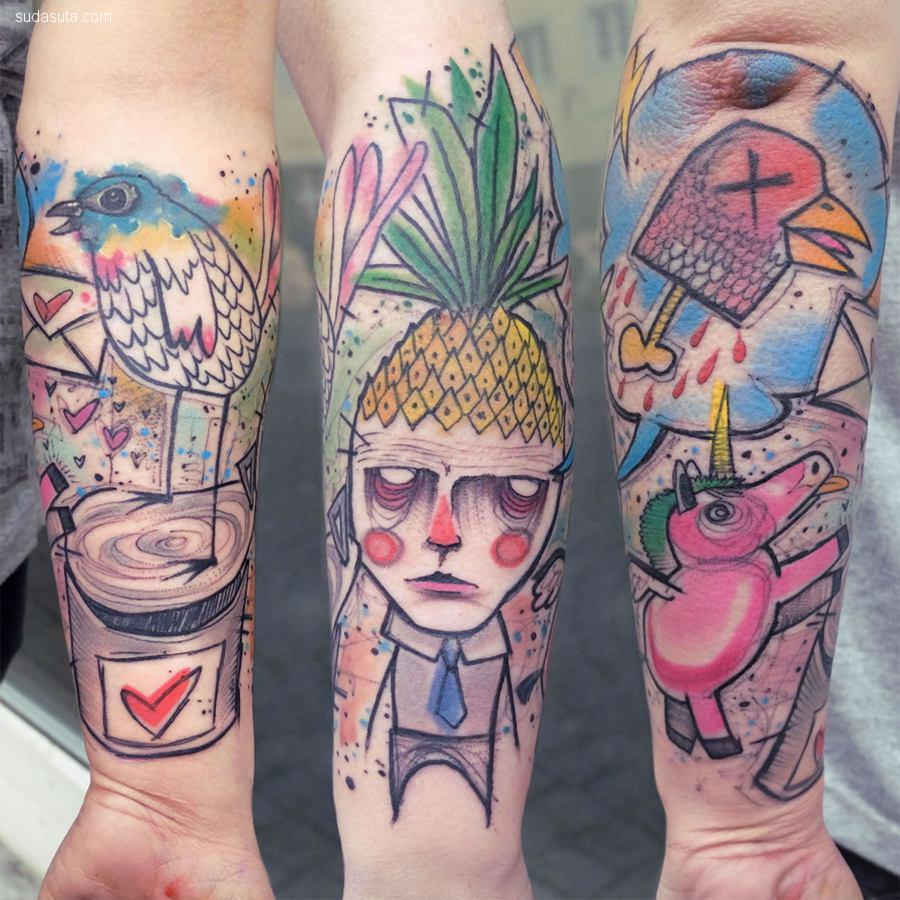 Elschwino 充满色彩的纹身艺术