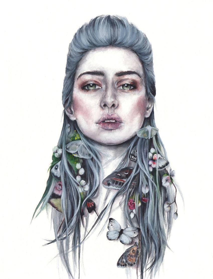 Oksana Dimitrenko 熊与少女 水彩插画欣赏