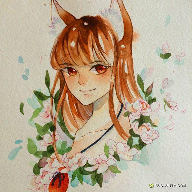 Hiraga Hikaru 手绘水彩插画