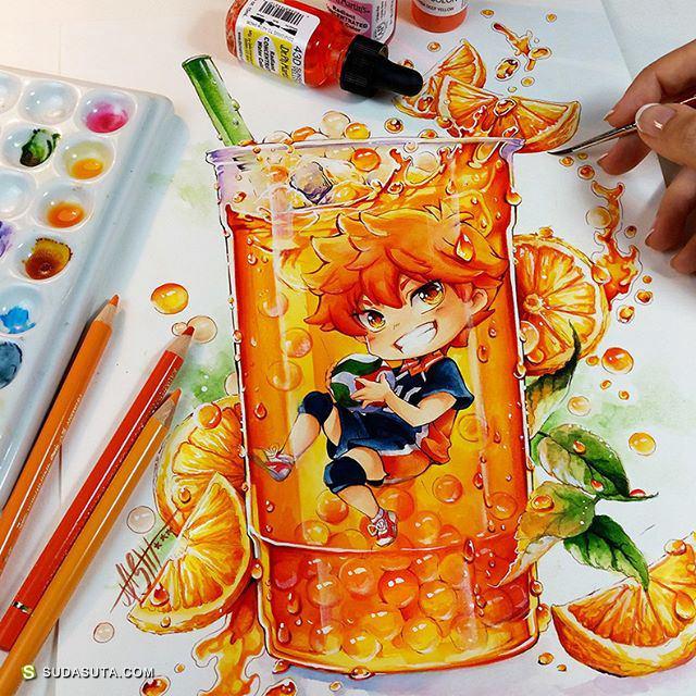 Nashi 快到碗里来 二次元水彩漫画欣赏