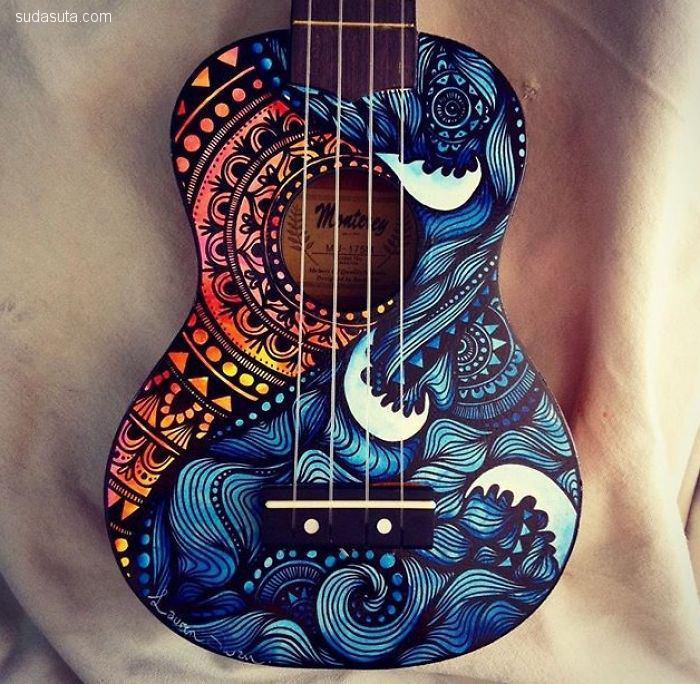 Salty Hippie 在吉他上作画