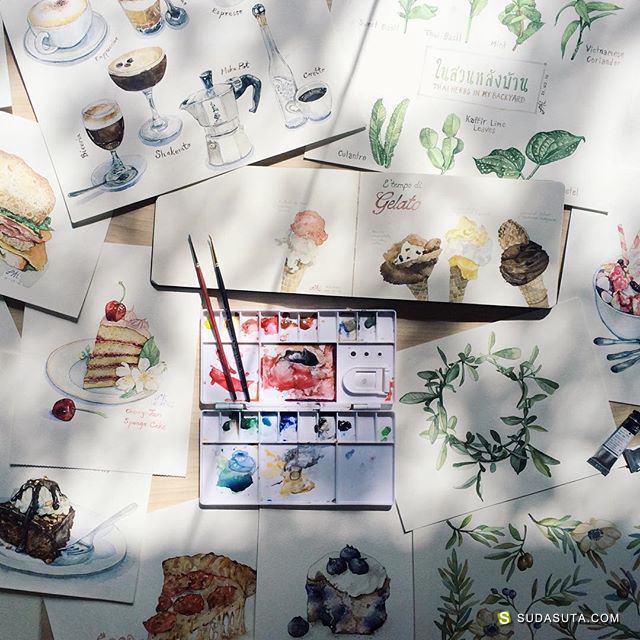 泰国水彩艺术家 ปุยไฝไดอารี่