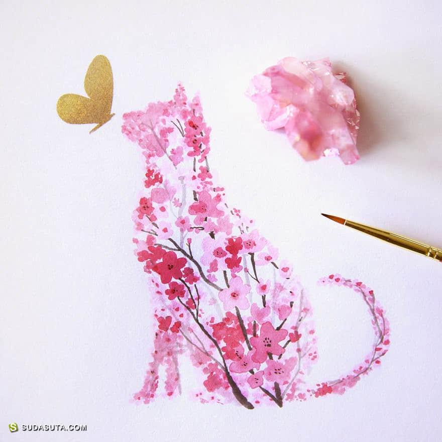 Calvin 樱花带来的水彩插画