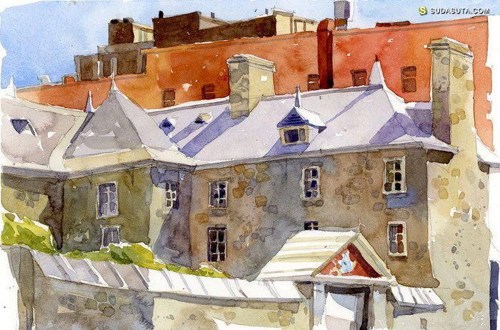 Shari Blaukopf 充满色彩的手绘风景速写