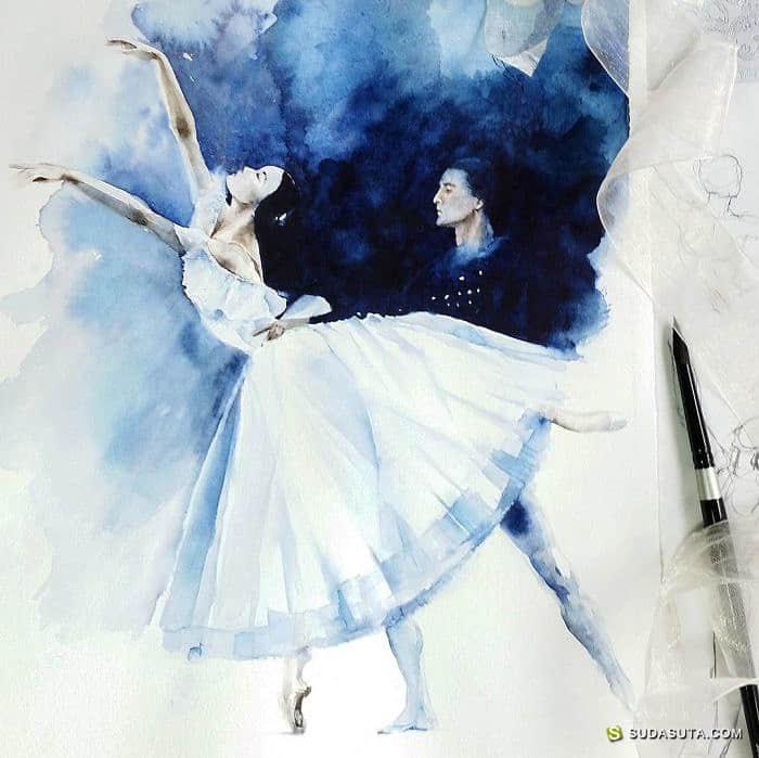 Yulia She 水彩与芭蕾 手绘插画欣赏