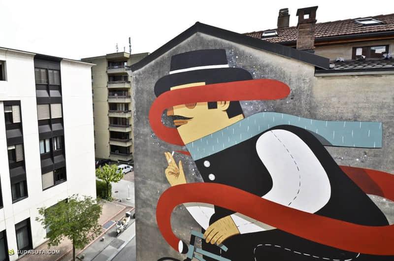 Agostino Iacurci 扁平化风格街头涂鸦