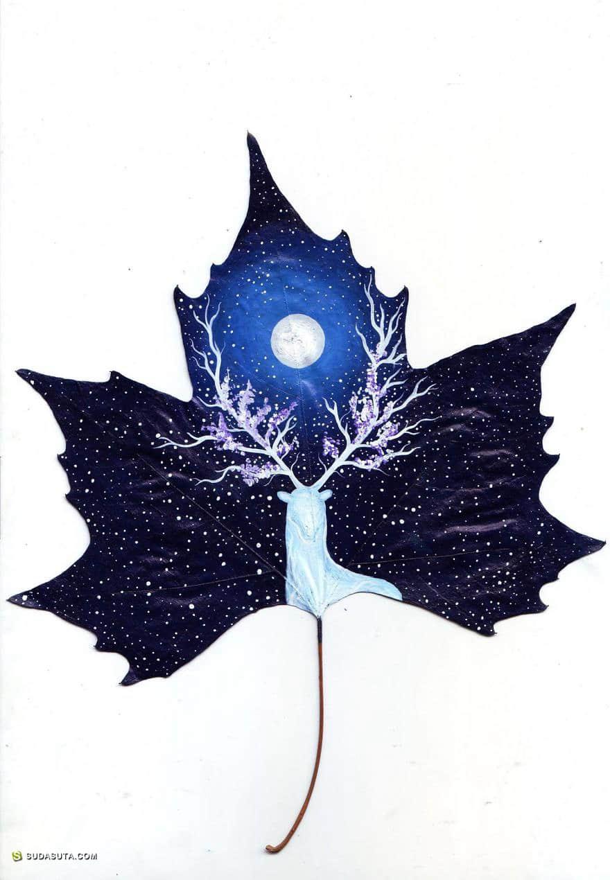 24 Fallen Leaves 在叶子上作画