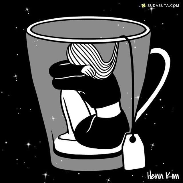 Henn Kim 黑白插画欣赏