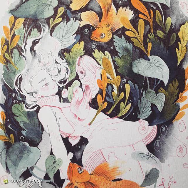 Jennee Yang 手绘同人水彩插画