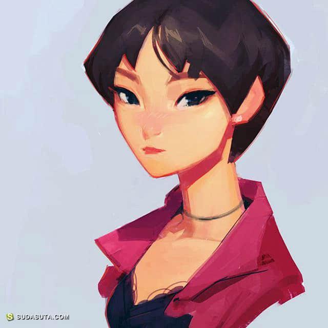 Samuel Youn 可爱的手绘女生头像