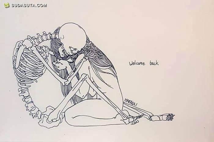 Haenuli 骷髅与少女 时尚插画欣赏