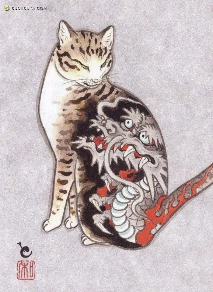 Kazuaki Horitomo 猫咪与纹身艺术