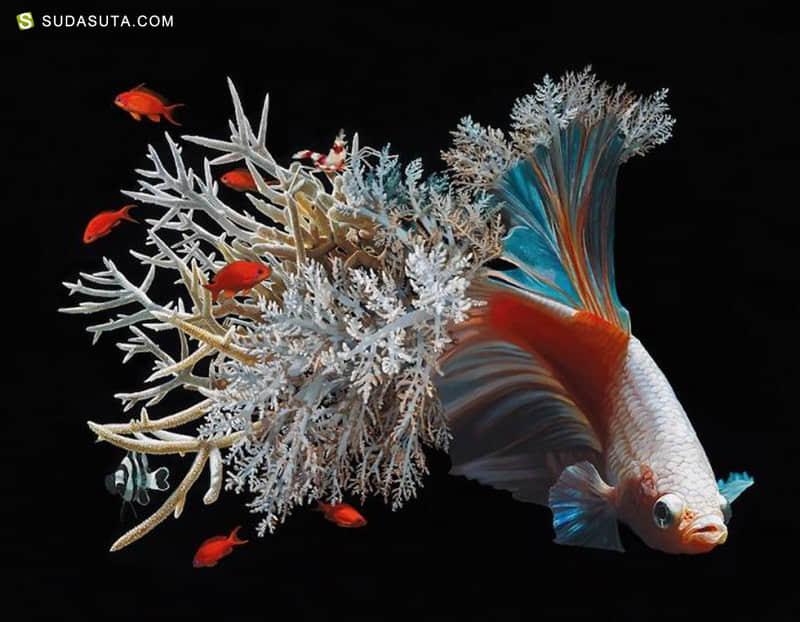 Lisa Ericson 鱼与花 超现实主义绘画艺术欣赏