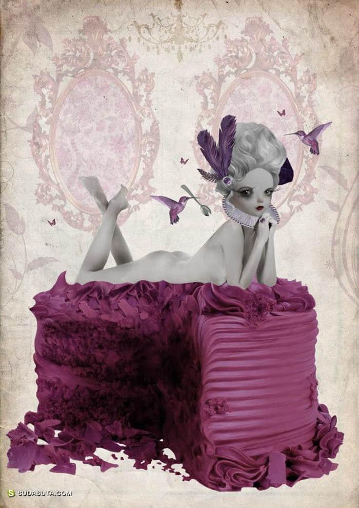 Tanya Mayers 黑色童话 噩梦般的女生插画